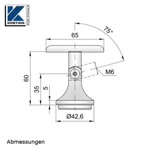 Abmessungen der Handlaufstütze mit Gelenk zum Einschweißen und Anschraubplatte