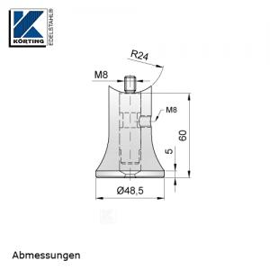 Abmessungen Handlaufstütze zum Einschweißen in Rohr mit Gewindebolzen