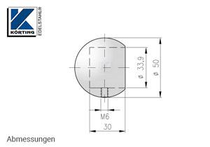Abmessungen Rohrabschlusskugel mit Gewindestift M6 zum Aufstecken, für Edelstahlrohr 33,7x2,0 mm, Werkstoff 1.4301, Oberfläche fein gedreht
