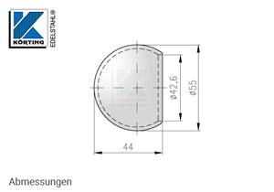 Rohrabschlusskugel hohl - Abmessungen