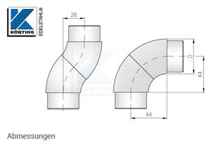 Rohrbogen verdrehbar zum Einkleben in Edelstahlrohr 42,4 x 2,0 mm - Abmessungen