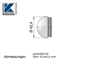 Rohrstopfen mit Rändelung,  halbrund, für Edelstahlrohr 42,4x2,6 mm, Werkstoff 1.4301, Oberfläche fein gedreht