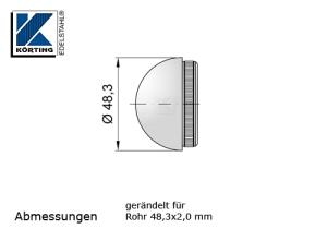 Rohrstopfen mit Rändelung,  halbrund, für Edelstahlrohr 48,3x2,0 mm, Werkstoff 1.4301, Oberfläche fein gedreht