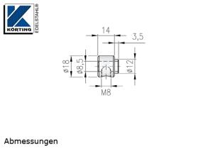 Seilstopper mit Bund aus Edelstahl zur Lastabtragung an Zwischenpfosten - Abmessungen