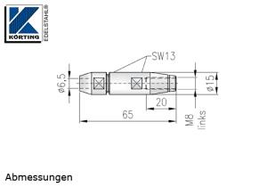 Seilverschraubung mit Linksgewinde aus Edelstahl zur Selbstmontage auf Seil 6 mm - Abmessungen