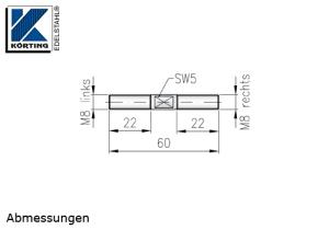 Seilspanner aus Edelstahl mit AußengewindeM8 rechts und Außengewinde M8 links - Abmessungen
