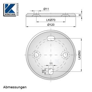 Abmessungen Edelstahl Ronde 120x8 mm zur seitlichen Montage von Geländerpfosten mit geingerer Belastung