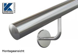 Handlaufhalter für Handlauf aus Edelstahl, Handlaufträger gebogen zum Anschweißen des Handlaufes, Ronde gedreht mit Fase, ohne Abdeckrosette