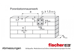 Fischer Porenbetonanker FPX-I einzuhaltende Montagemaße an der Wand