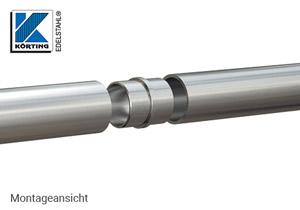 Rohrverbinder zum Einkleben in Rohr 42,4x2,0 mm - Montageansicht