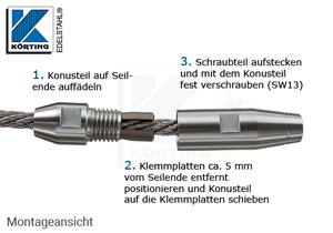 Seilverschraubung mit Linksgewinde aus Edelstahl zur Selbstmontage auf Seil 6 mm - Montage